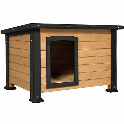 BCP Small Log Cabin Outdoor Dog House w/ Opening Roof - Brown