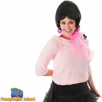 50's ROCK N ROLL PINK POODLE SCARF Womens Ladies Fancy Dress Costume Accessory