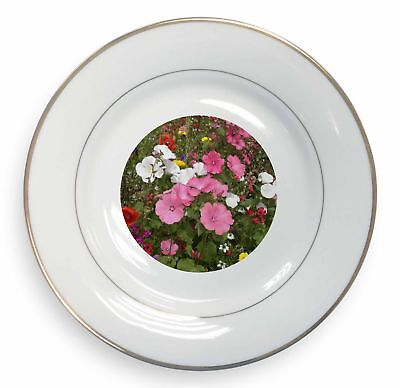Poppies and Wild Flowers Gold Rim Plate in Gift Box Christmas Present, FL-10PL