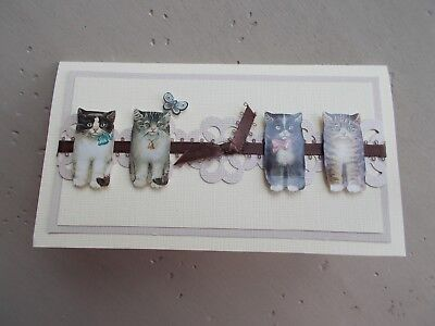 Unique Custom Cream Kitty Cat Checkbook Cover OOAK Top Load Duplicate