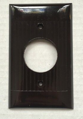 """New Old Stock Brown Bakelite Ribbed Single Hole Outlet Cover 1 3/8"""" Opening"""