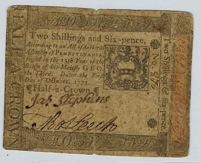 Pennsylvania Colonial Currency October 1 1773 Two Shillings 6 Pence 2s6d