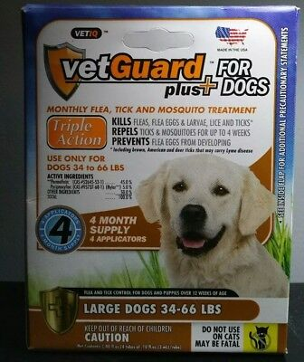 VetGuard Plus® Flea, Tick & Mosquito Treatments for Large Dogs 34-66lbs 4 months