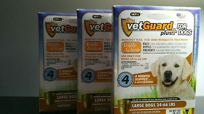VetGuard Plus® Flea, Tick & Mosquito Treatments for Large Dog 34-66lbs 12 months