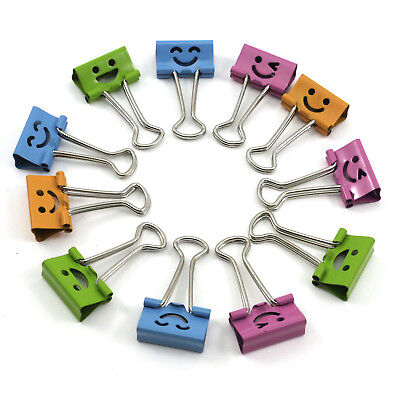 5pcs Cute Creative Smile Face Office Home File Paper Organizer Metal Binder Clip