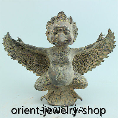 Chinese Folk Culture old bronze statue hand-carved collection Family art monster