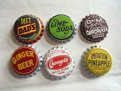 Lot of 6 Different Vintage Cork Lined Unused Soda Bottle Caps