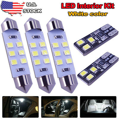 8x White LED Dome Map License Plate Light Bulb Interior LED Kit Package For  Cars