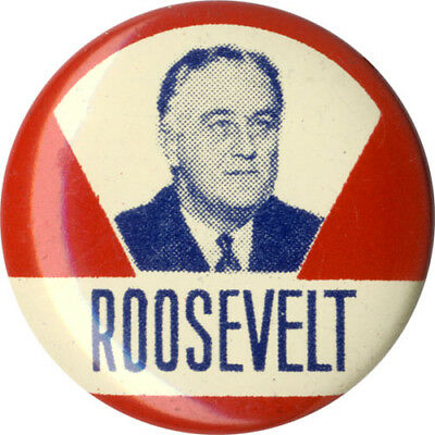 Classic 1944 Franklin Roosevelt Victory V Campaign Button (3449)