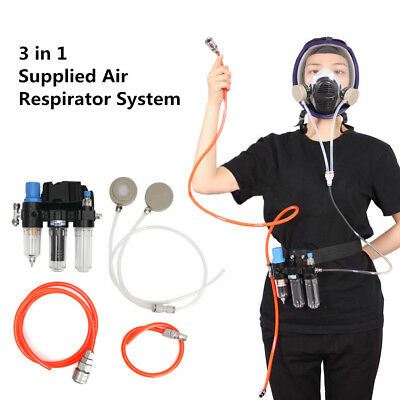 3in 1 Function Supplied Air Fed Respirator System For 3M 6800/6200 Face Gas Mask