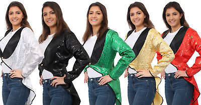 Ladies Sequin Tailcoat Dance Troupe School Womens Girls Costume Glitter