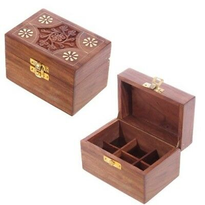 Sheesham Wood Essential Oil Box - Design 2 (holds 6 Bottles) - Compartment