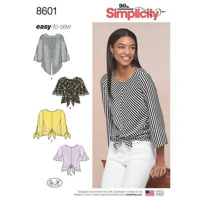 Simplicity Sewing Pattern Misses Easy Pullover Top Sleeve Variations 6-22 8601