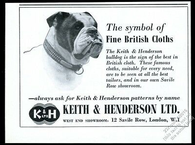 1960 English Bulldog photo Keith & Henderson cloth patterns vintage print ad