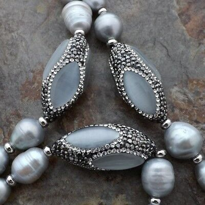 48'' Gray Rice Pearl White Cats Eye Necklace