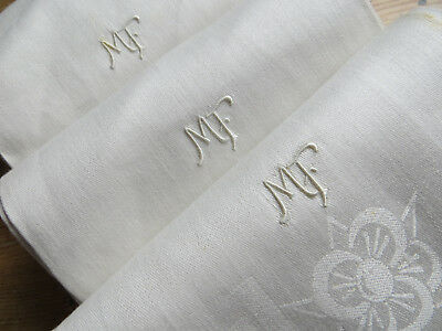 """Unused Set Of Three  ( 3)  Damask White Silky  Linen Towels  Art Deco 45"""" Long"""