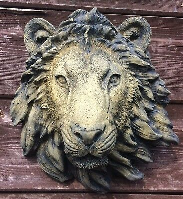 "small Lion head wall plaque decorative stone home or garden ornament 20cm/8""H"