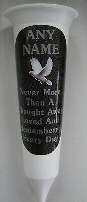 White Personalised Memorial Flower Vase White Dove In Loving Memory Grave