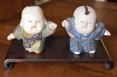 Charming Early 1900's Antique Pair Of Japanese Hakata Dolls On Wooden Platform