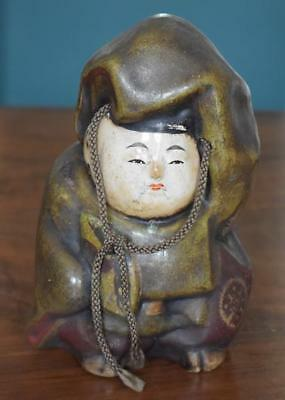 Antique Japanese Painted Figure Okama-Kyote Ware Holding Fan With Head Cord