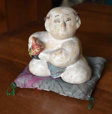 Antique 19Th Century Japanese Painted Earthenware Doll Holding Rooster On Pillow