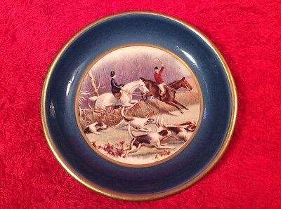 Vintage Faience English Fox Hunt Equestrian Butter Pat c1930-1948, ff350