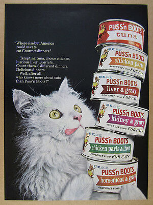 1965 white long-haired cat photo Puss'n Boots Cat Food vintage print Ad