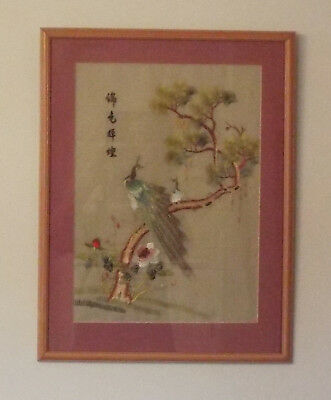 Oriental Chinese / Japanese Embroidered Picture Of Peacock In Wooden Frame
