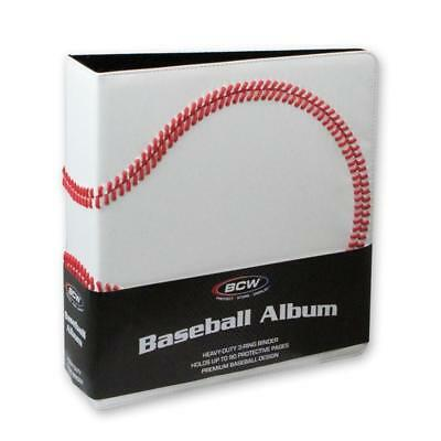 "1 BCW 3"" Premium White Baseball Collector Album Textured Cover & 100 BCW Pages"