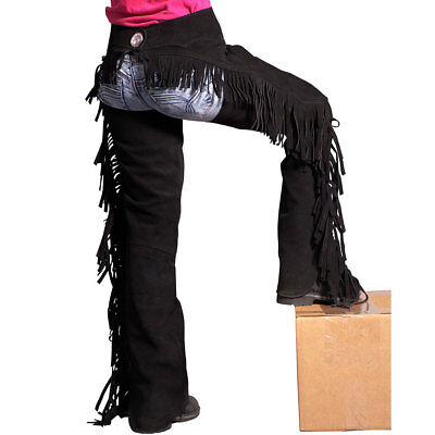 Large Black Genuine Suede Leather Western Horse Saddle Show Chaps