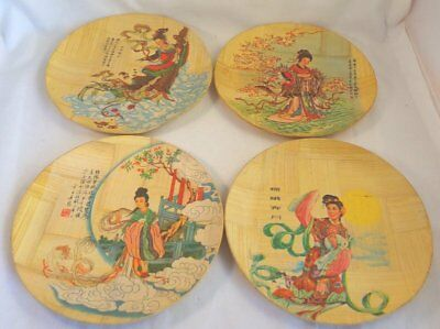 Lot of (4) Decorative Chinese Bamboo Plates by Bamboo Plate Specialist & TWO MACAU Chinese Colorful Rooster Pattern Porcelain Dish 2 3/4 ...