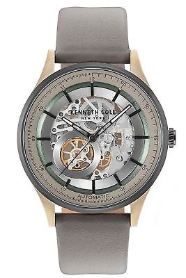Kenneth Cole Mechanical Automatic Skeleton Grey Leather Men's Watch KC15100004