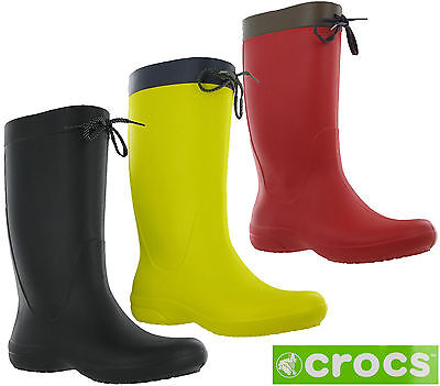 d41e1e6085b5c5 Crocs Freesail Rain Boot Womens Calf Wellington Winter Pull On Lightweight  Boots