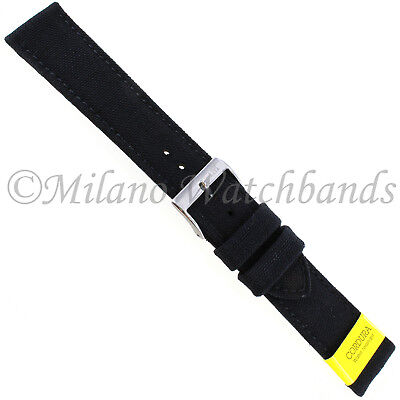 20mm Morellato Padded Stitched Genuine Cordura Canvas Black Watch Band Strap