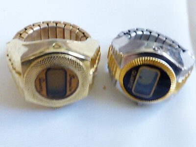 VTG Lot of 2 Retro Impulse Quartz Digital stretched band Ring Watch in Gold