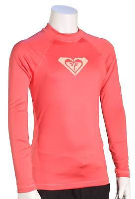 Roxy Girl's Whole Hearted LS Rash Guard - Rouge Red - New