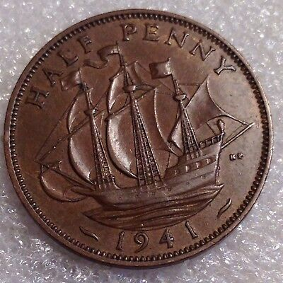Great Britain UK 1/2 Penny 1941 WWII. Era Bronze   #3355