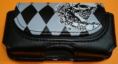 "4.25"" X 2"" x .75"" COOL SKULL PLAID  Leather Pouch Case for Cell Phone or Camera"