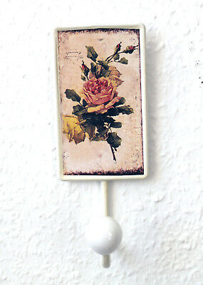 Roses Coat Hook Hook Metal Porcelain Rose Antique F02
