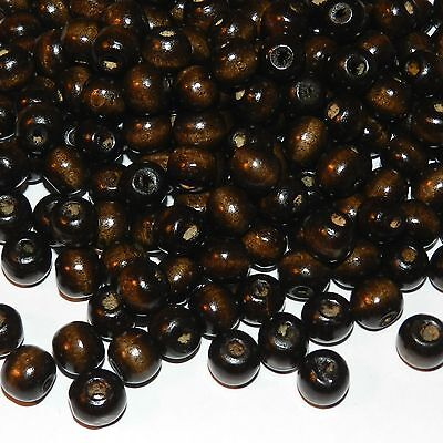 W636L2 Brown 10mm Semi- Round Wood Beads 1oz Package (150pc)