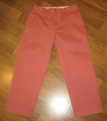 Mens 34 30 J.CREW Nantucket Red BROKEN-IN Chino RELAXED Fit Cotton Khaki Pants