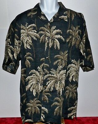 f6288851 Paradise Shores Palms Tropical Floral Mens Black Hawaiian Shirt XXL Buttons  NWT
