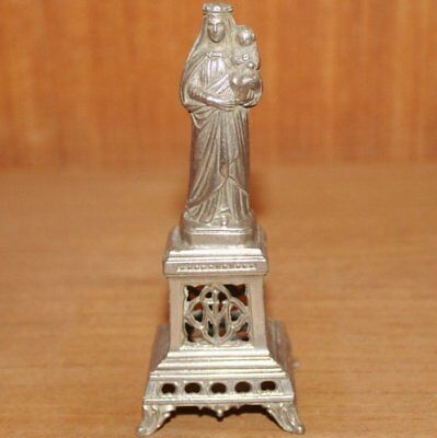 Antique French Cast Metal Statue, Our Lady with Child Jesus