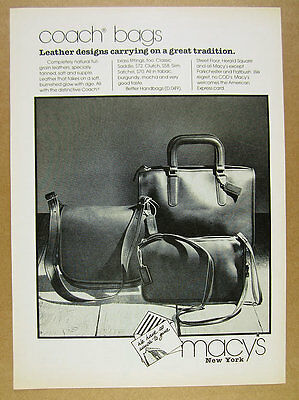 1979 Coach Bags saddle clutch satchel photo Macy's vintage print Ad