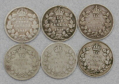 CANADA 10 Cents 1913,1914,1916,1928,1932,1936 - Lot of 6 Silver Coins, No Res.!