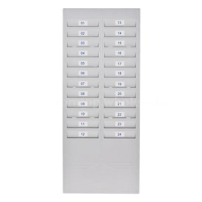 24 Pocket Slot Time Card Rack Plastic Wall Mounted Holder Office Factory Storage
