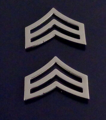 "SGT Sergeant Chevron WIDE 1"" Silver Pair Collar Pins Rank Insignia police USA!"