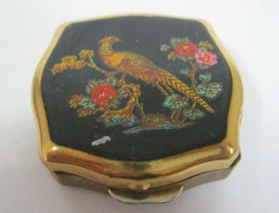 Vintage goldtone Stratton pill/snuff box pheasant desgn Made in England