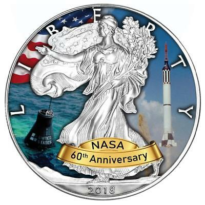 USA 1 Dollar 2018 Silver Eagle Mercury Programm 60 Jahre NASA (6) 1 Oz Silber ST