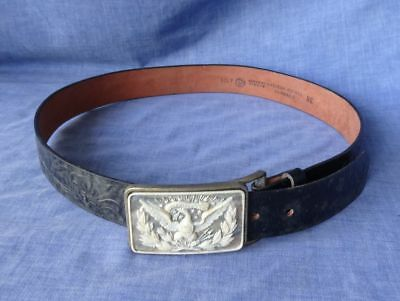 Vintage Black Tooled Western Leather Belt with Brass Incolay Cameo Eagle Buckle